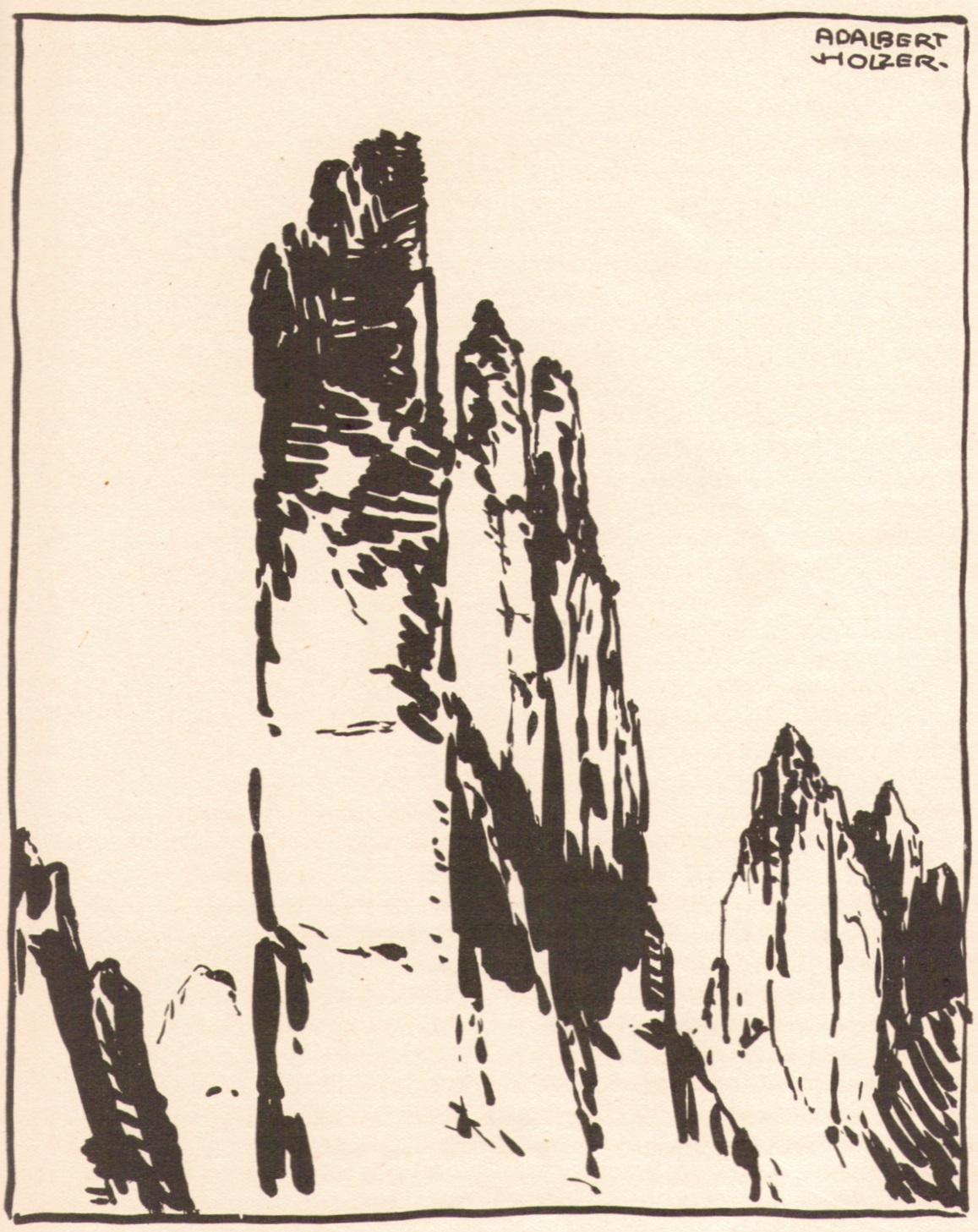 Adalbert Holzer - Dolomitentuerme sw um 1920p.jpg