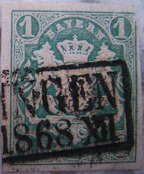 Briefmarke 1 Kreuzer Dunkelgruen 1868paint.jpg