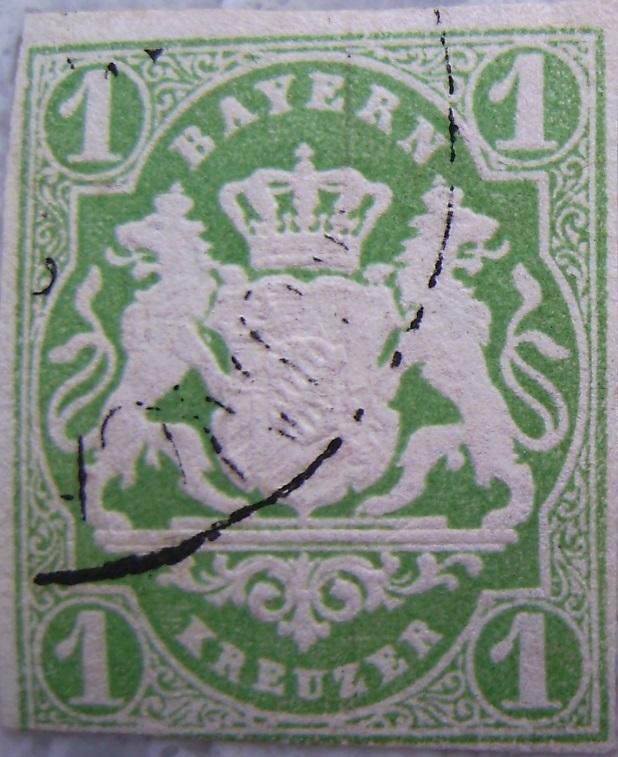 Briefmarke 1 Kreuzer Hellgruenpaint.jpg