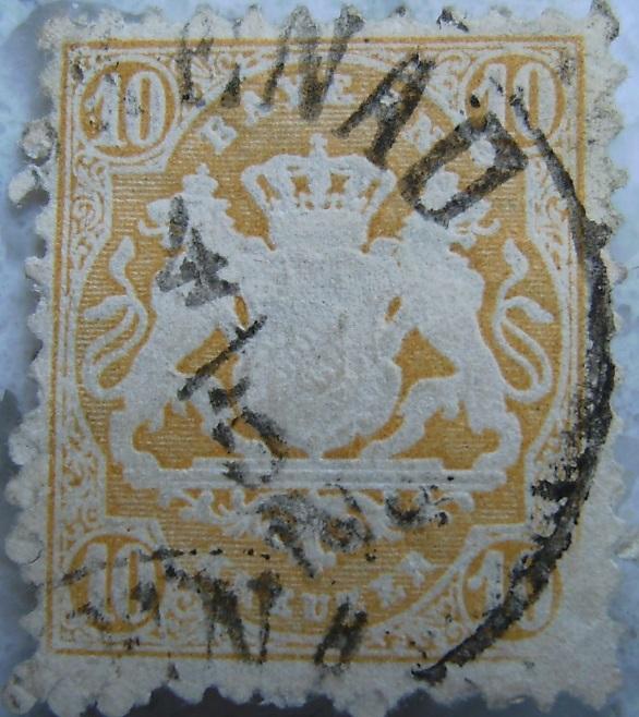 Briefmarke 10 Kreuzer Gelbp.jpg