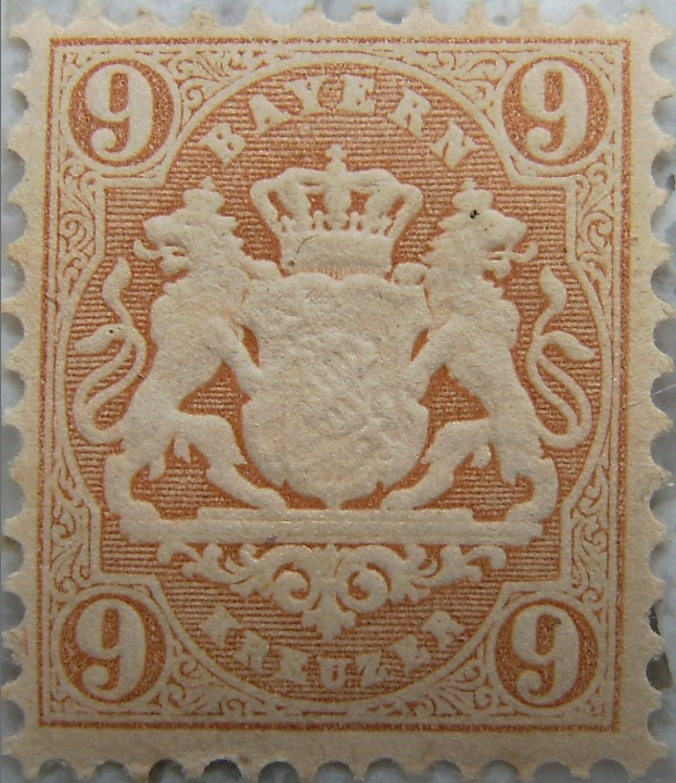Briefmarke 9 Kreuzer Hellbraunp.jpg