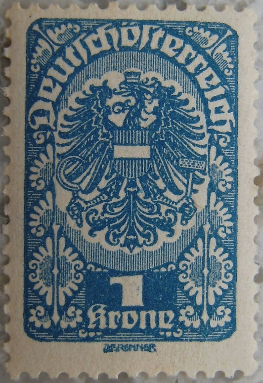 Deutschoesterreich Freimarken 1919_20 - 1 Krone blaup.jpg