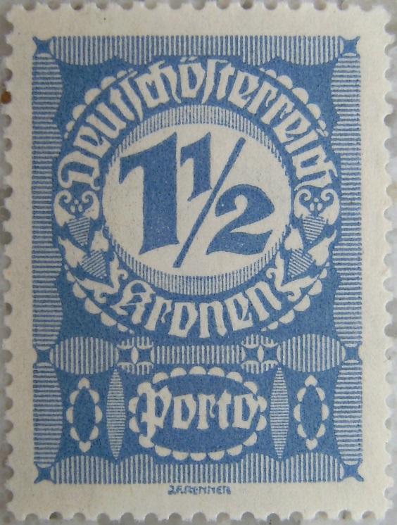 Deutschoesterreich Portomarke gutes Papier2 - 1_5 Kronenp.jpg