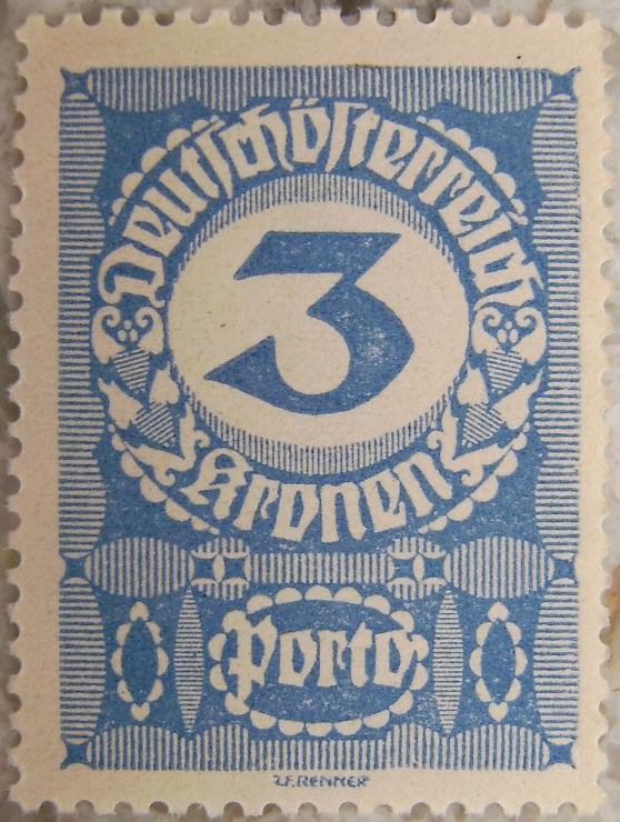 Deutschoesterreich Portomarke gutes Papier4 - 3 Kronenp.jpg