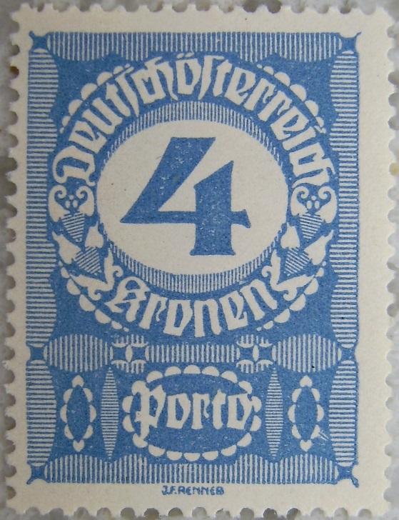 Deutschoesterreich Portomarke gutes Papier5 - 4 Kronenp.jpg