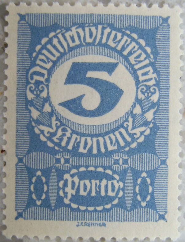 Deutschoesterreich Portomarke gutes Papier6 - 5 Kronenp.jpg