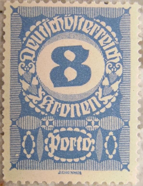 Deutschoesterreich Portomarke gutes Papier7 - 8 Kronenp.jpg