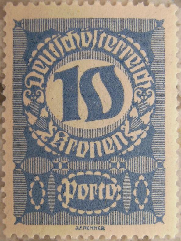 Deutschoesterreich Portomarke gutes Papier8 - 10 Kronenp.jpg