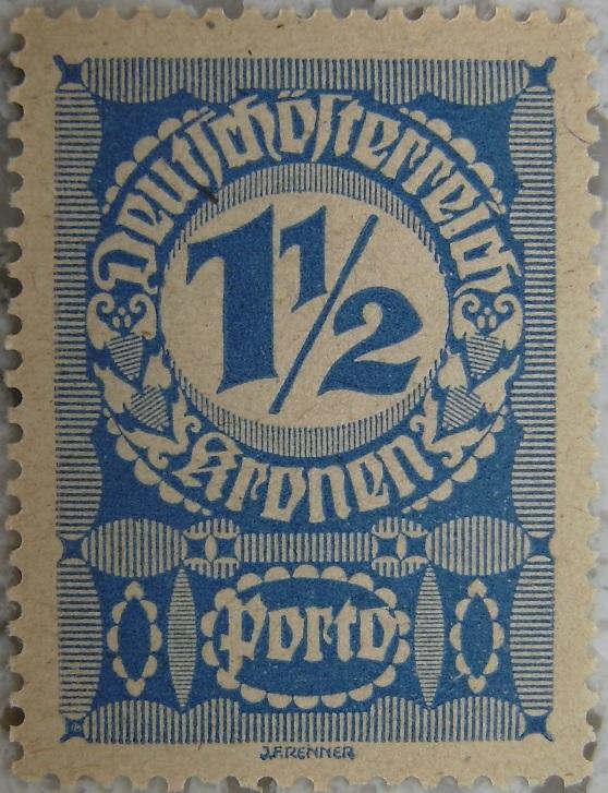 Deutschoesterreich Portomarke schlechtes Papier2 - 1_5 Kronenp.jpg