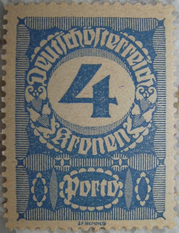 Deutschoesterreich Portomarke schlechtes Papier5 - 4 Kronenp.jpg
