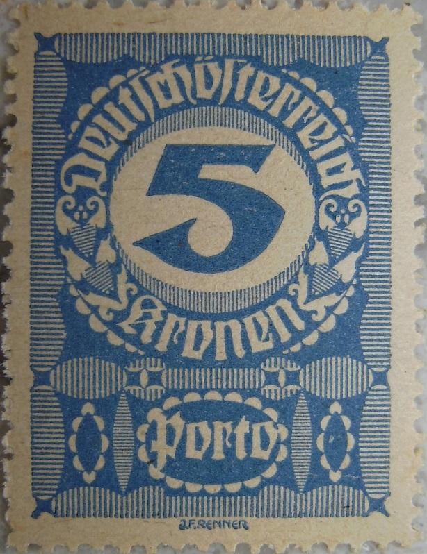 Deutschoesterreich Portomarke schlechtes Papier6 - 5 Kronenp.jpg