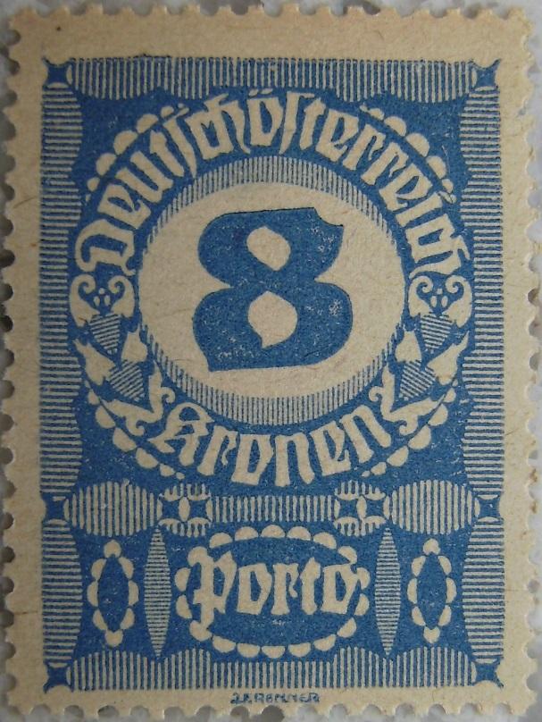 Deutschoesterreich Portomarke schlechtes Papier7 - 8 Kronenp.jpg
