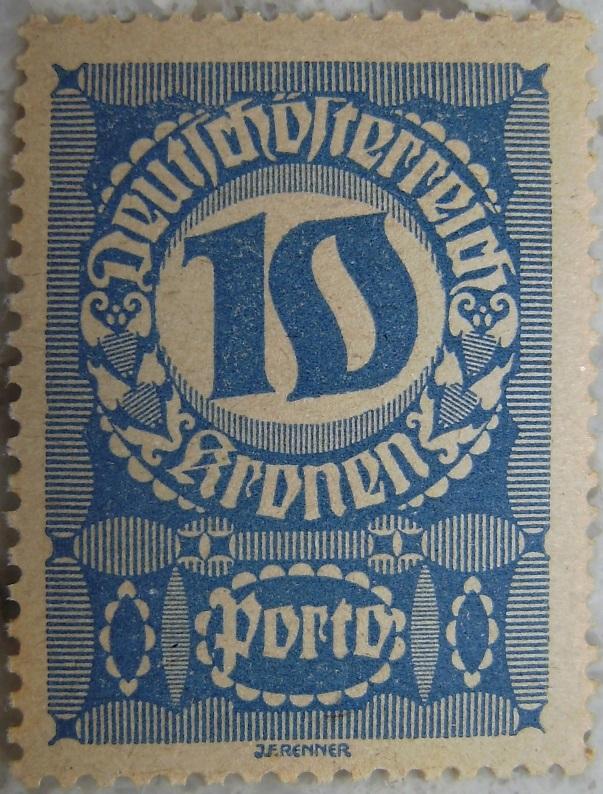 Deutschoesterreich Portomarke schlechtes Papier8 - 10 Kronenp.jpg