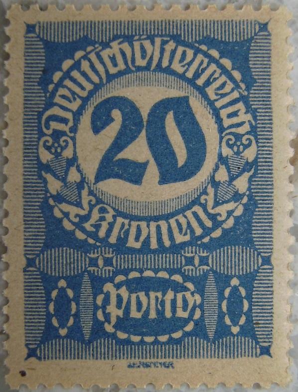 Deutschoesterreich Portomarke schlechtes Papier9 - 20 Kronenp.jpg