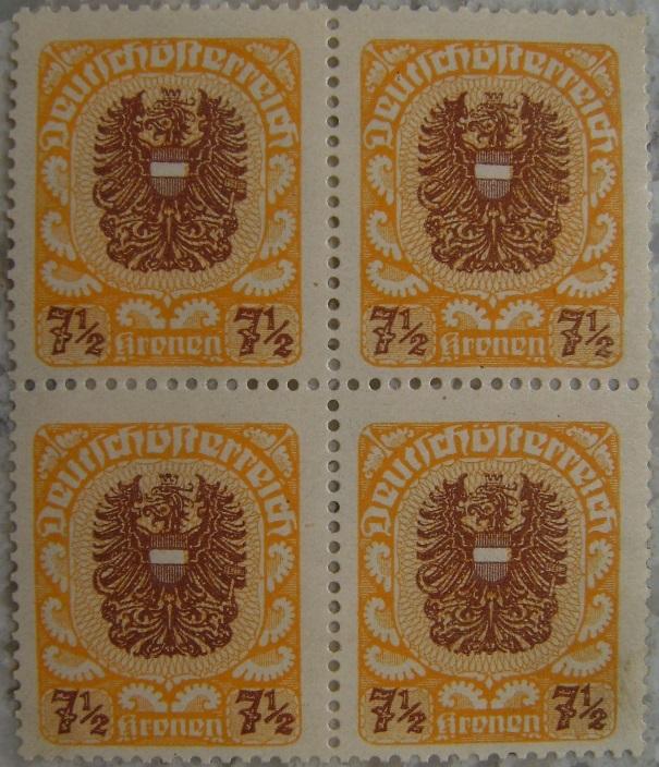 Deutschoesterreich postfrisch09 7_5 Kronen Viererblockp.jpg